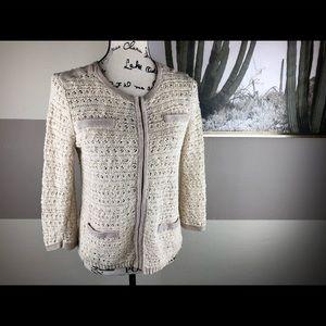 Ann Taylor Beige Cream Crochet Knit Cardigan Sz S